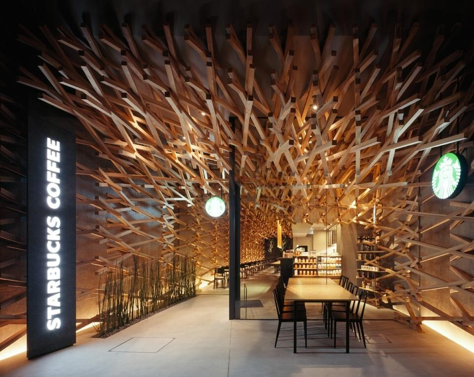 Edificio in legno Starbucks Coffee